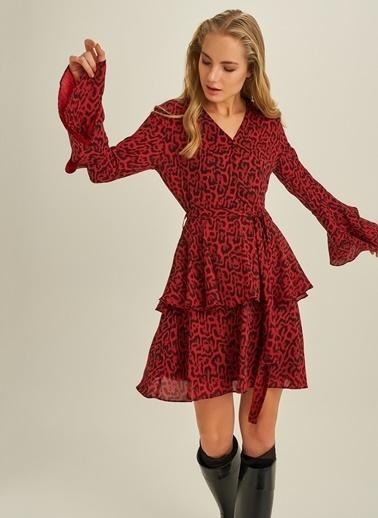 People By Fabrika Leopar Desenli Elbise Kırmızı